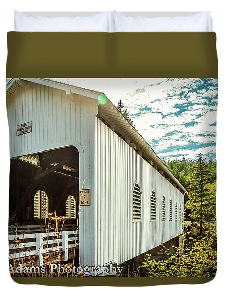 Duvet Cover featuring the photograph Dorena Covered Bridge by Jim Adams