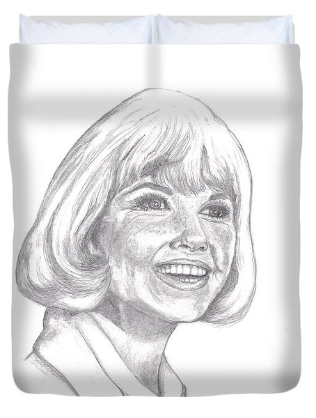 Duvet Cover featuring the drawing Doris Day  by Carol Wisniewski