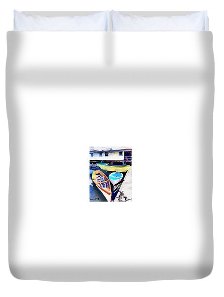 Dory Dock At Beacon Marine Basin - East Gloucester, Ma Duvet Cover
