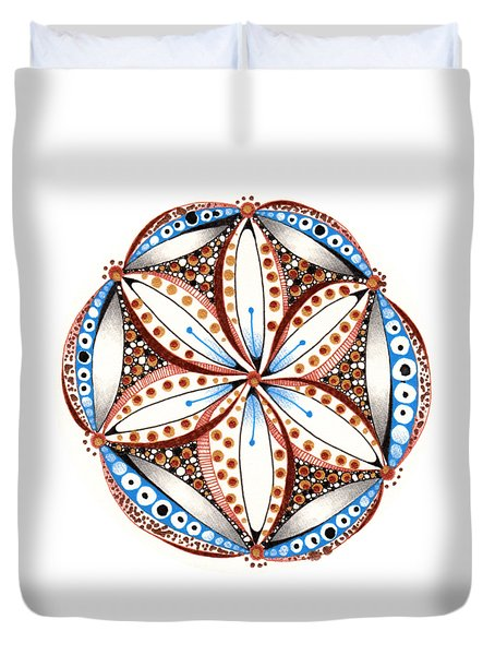 Duvet Cover featuring the drawing Dotted Zendala by Jan Steinle