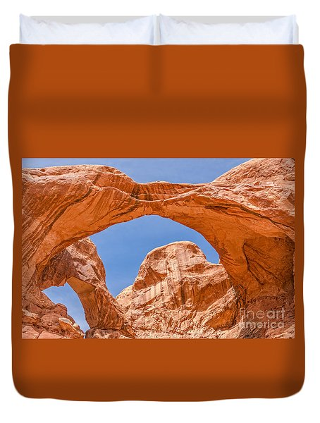 Double Arch At Arches National Park Duvet Cover by Sue Smith