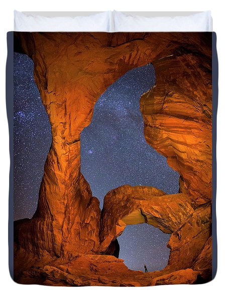 Double Arch At Night Duvet Cover