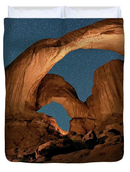 Double Arch And The Milky Way - Arches National Park - Moab, Utah By Olena Art - Brand  Duvet Cover