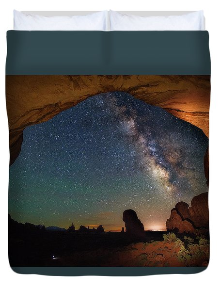 Double Arch Milky Way Views Duvet Cover by Darren White