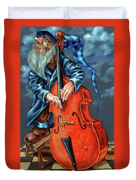 Double Bass And Bench Duvet Cover
