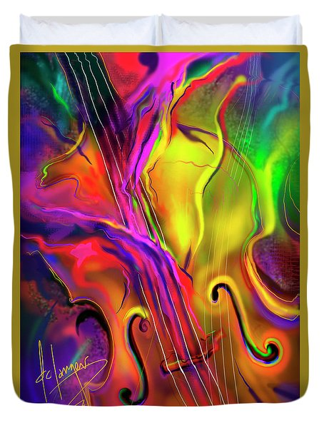 Double Bass Solo Duvet Cover by DC Langer