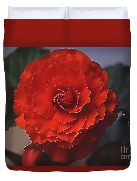 Double Begonia Bloom Duvet Cover