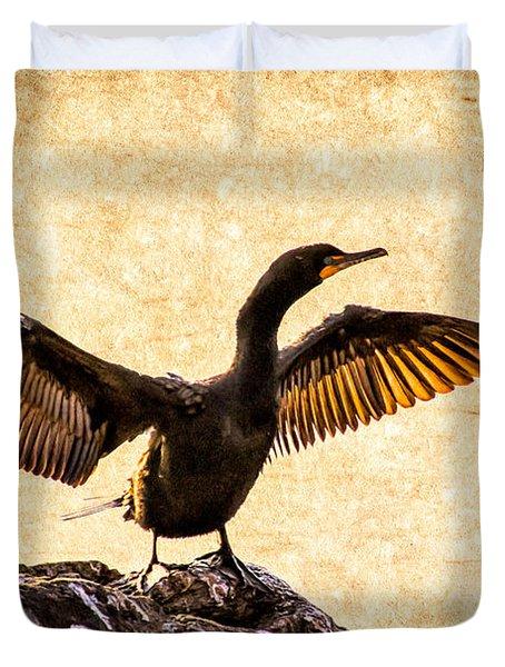 Double-crested Cormorant Duvet Cover by Bob Orsillo