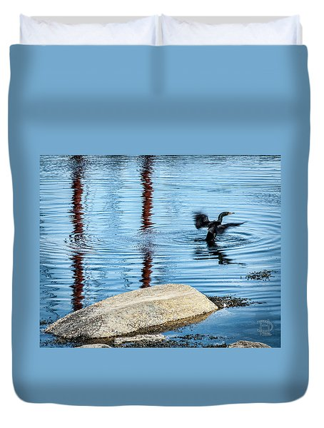 Duvet Cover featuring the photograph Double-crested Cormorant by Daniel Hebard