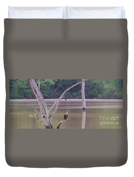 Duvet Cover featuring the photograph Double Crested Cormorant by Donna Brown