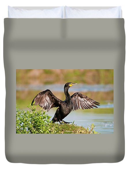 Double-crested Cormorant Duvet Cover by Gary Lengyel