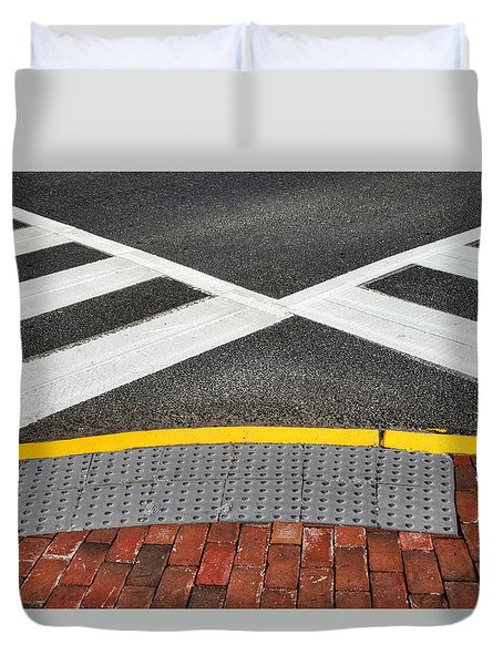 Duvet Cover featuring the photograph Double Crossed On The Street Corner by Gary Slawsky