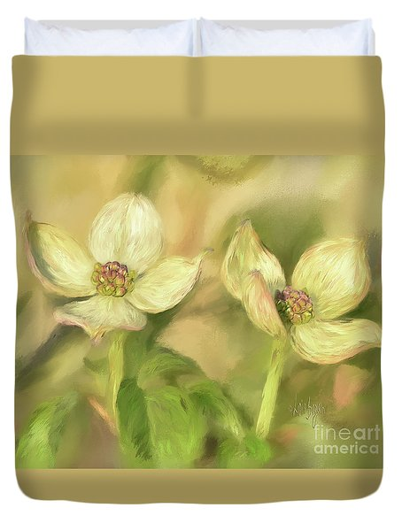 Duvet Cover featuring the digital art Double Dogwood Blossoms In Evening Light by Lois Bryan