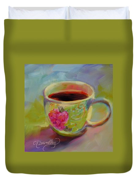 Duvet Cover featuring the painting Double Espresso, Please by Chris Brandley