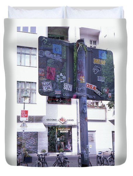 Double Exposure Street Sign Duvet Cover