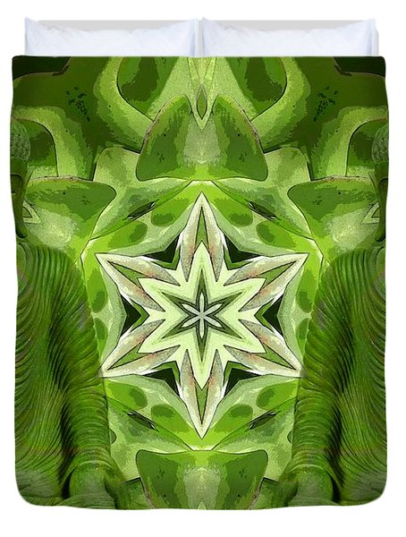 Double Green Buddhas Duvet Cover