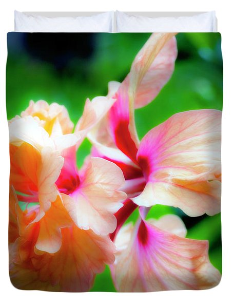 Double Peach Hibiscus Two Duvet Cover
