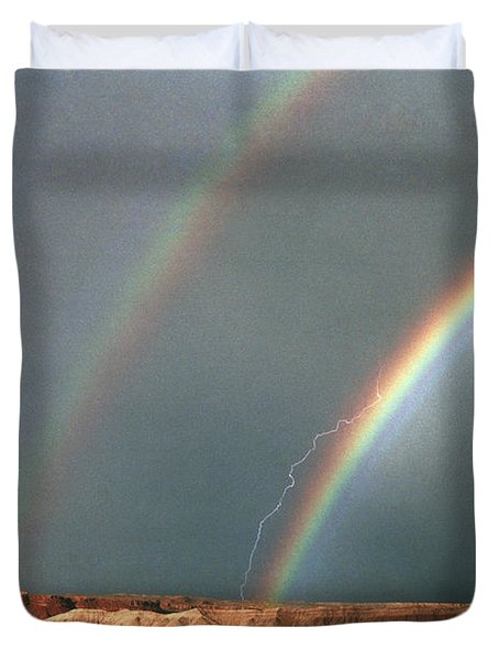 Double Rainbow And Lightning-signed Duvet Cover by J L Woody Wooden