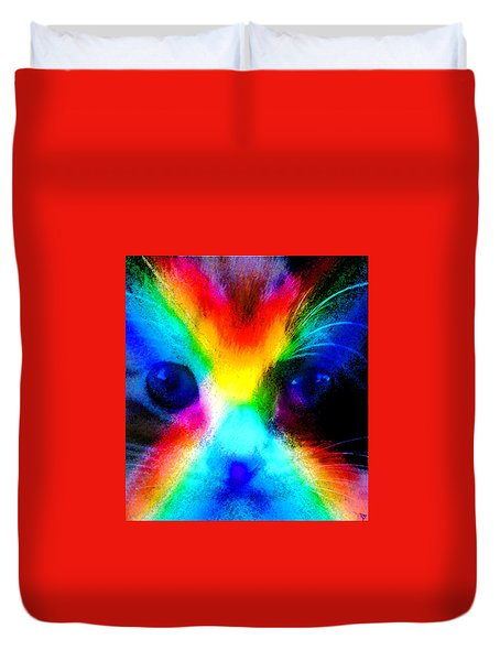 Duvet Cover featuring the painting Double Rainbow Cat by David Lee Thompson