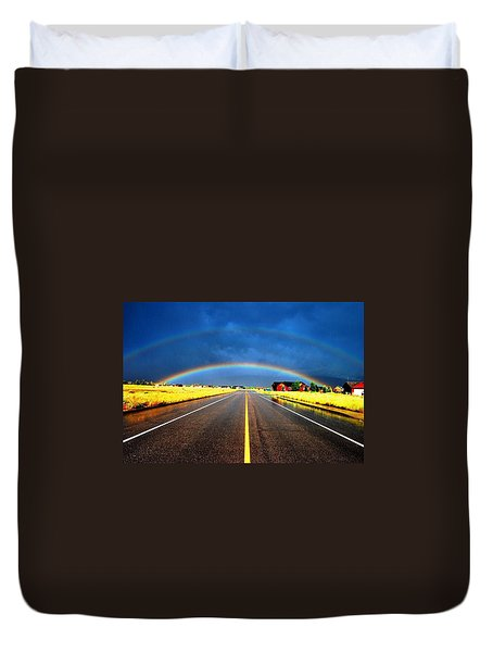 Double Rainbow Over A Road Duvet Cover by Matt Harang
