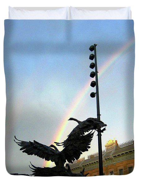 Double Rainbow Over Old Town Square Duvet Cover