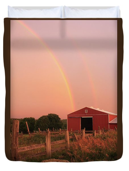 Double Rainbow Over Red Barn Duvet Cover by John Burk
