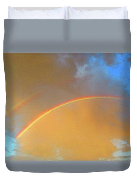 Double Rainbows In The Desert Duvet Cover