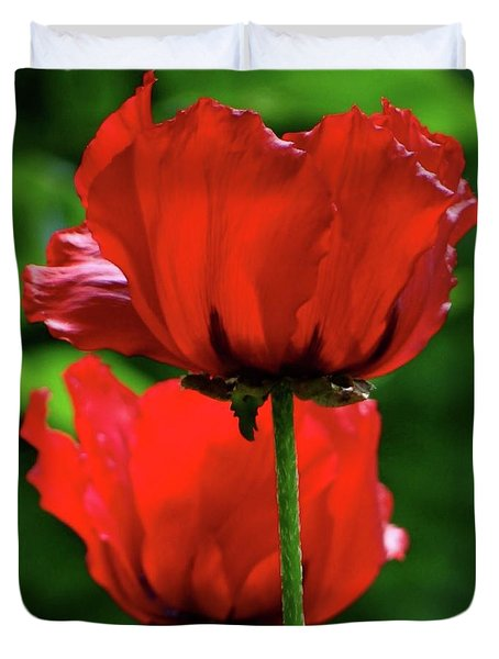 Double Red Poppies Duvet Cover