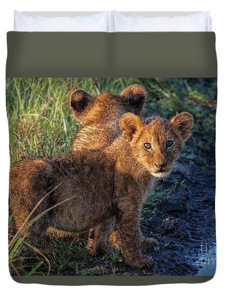 Duvet Cover featuring the photograph Double Trouble by Karen Lewis