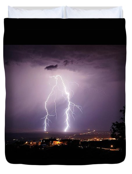 Duvet Cover featuring the photograph Double Trouble by Ron Chilston