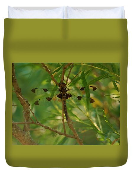 Duvet Cover featuring the photograph Double Winged Dragonfly by Ramona Whiteaker