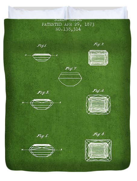 Doublet Stone Patent From 1873 - Green Duvet Cover