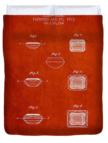 Doublet Stone Patent From 1873 - Red Duvet Cover