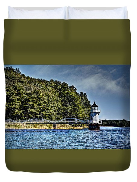 Duvet Cover featuring the photograph Doubling Point Lighthouse by Deborah Klubertanz