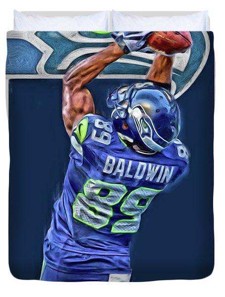 Doug Baldwin Seattle Seahawks Oil Art 3 Duvet Cover