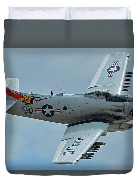 Duvet Cover featuring the photograph Douglas A-1d Skyraider Nx409z Chino California April 30 2016 by Brian Lockett