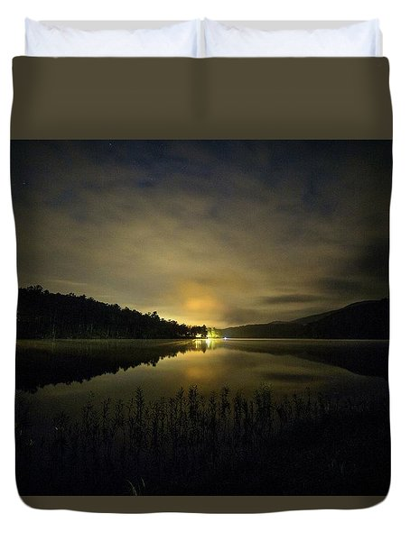Duvet Cover featuring the photograph Douthat Lake Night by Alan Raasch