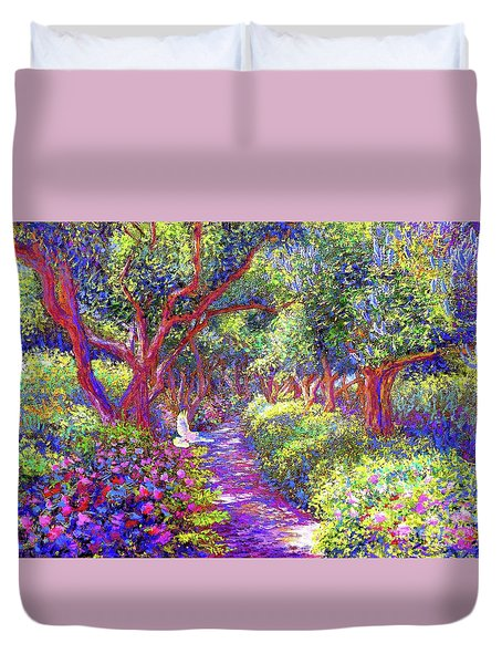 Dove And Healing Garden Duvet Cover