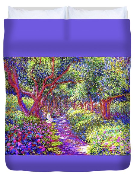 Dove And Healing Garden Duvet Cover by Jane Small