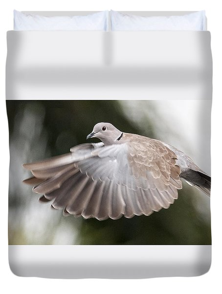 Duvet Cover featuring the photograph Dove Flight by Don Durfee