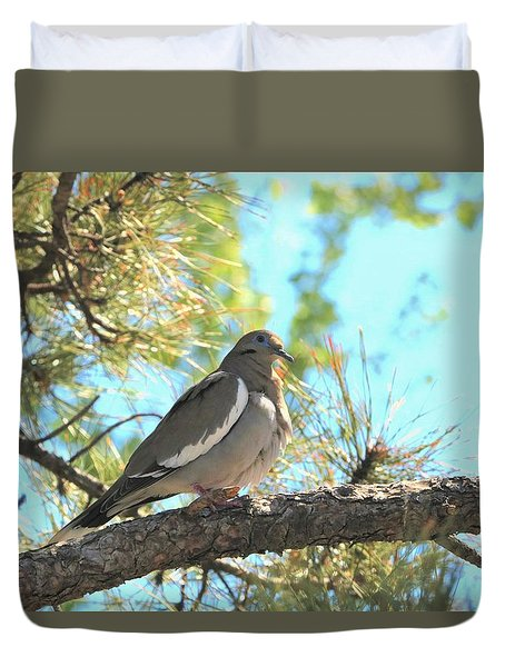 Dove In Pine Tree Duvet Cover