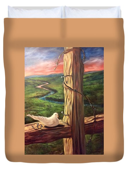 Duvet Cover featuring the painting Dove On A Cross  Paloma  En Una Druz by Randol Burns