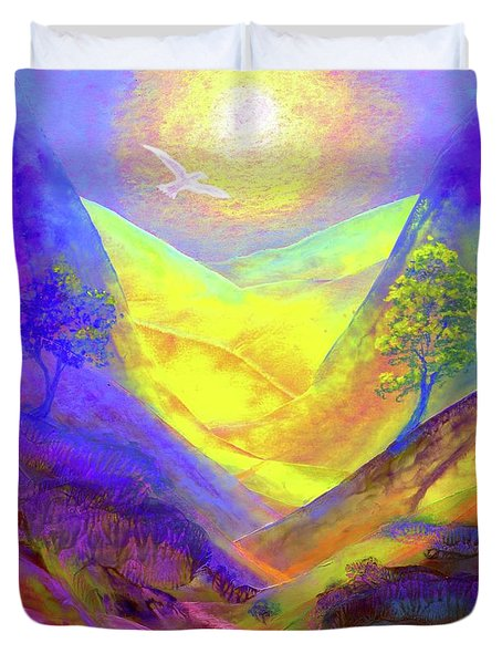 Duvet Cover featuring the painting Dove Valley by Jane Small