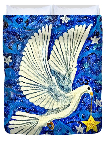 Dove With Star Duvet Cover