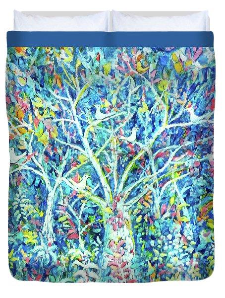 Doves In Trees Duvet Cover