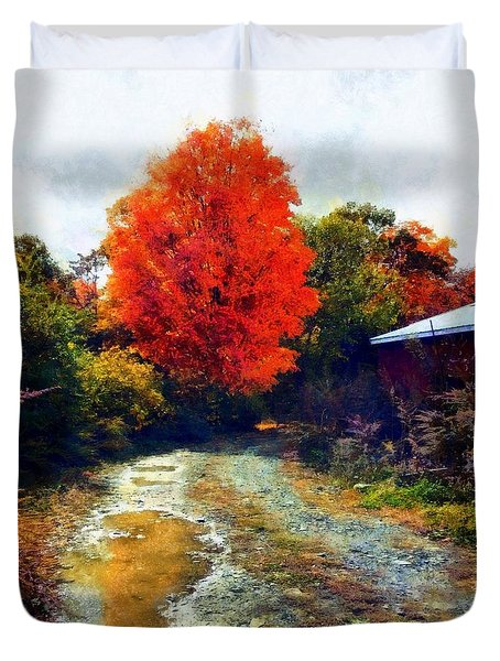 Duvet Cover featuring the photograph Down A Country Road - Autumn by Janine Riley