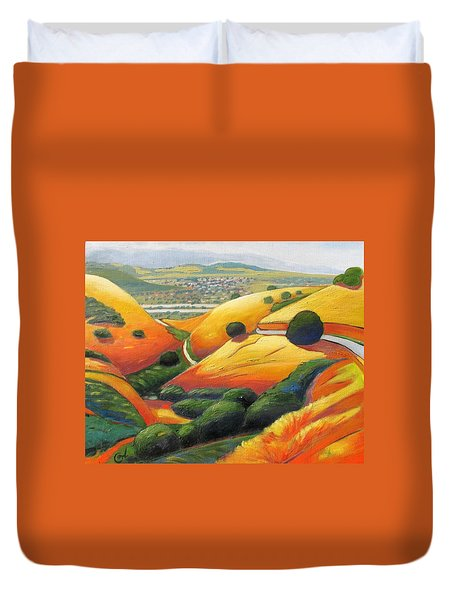Duvet Cover featuring the painting Down Metcalf Road by Gary Coleman