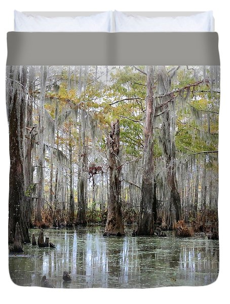 Down On The Bayou - Digital Painting Duvet Cover by Carol Groenen