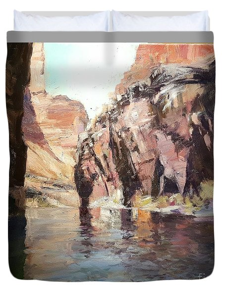 Down Stream On The Mighty Colorado River Duvet Cover