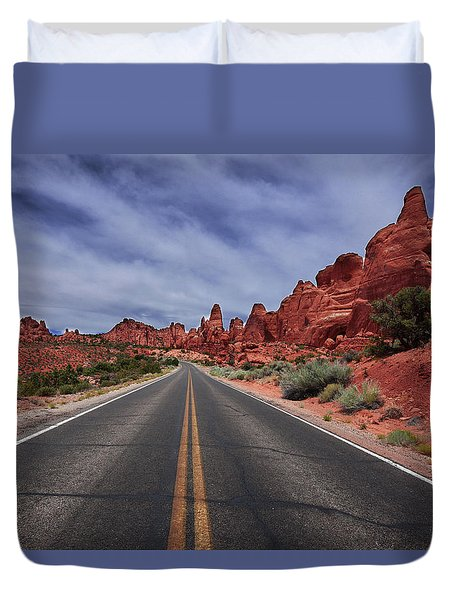Down The Open Road Duvet Cover